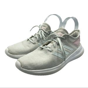 Adidas white sneakers pink heel pull size 7.5